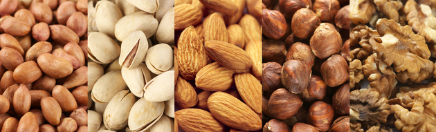 Set of assorted nuts as backgrounds.