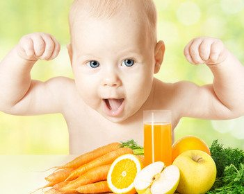 Baby fresh fruit meal and juice glass. Concept: healthy vitamin vegetable food diet make baby strong and happy