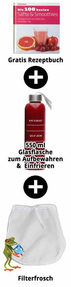 Rezeptbuch + 550ml Saftflasche + Nussmilchbeutel