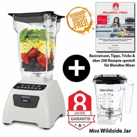 Blendtec-Classic-575-mit-Fourside+Miniwildside+Blendtecfibel-weiss
