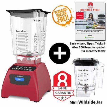 Blendtec-Classic-575-mit-Wildside+Miniwildside+Blendtecfibel-rot