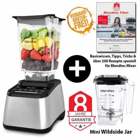 Blendtec-Designer-725-mit-Wildside+Mini-Wildside+Blendtec-Fibel-edelstahl
