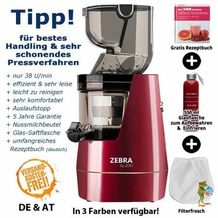 Zebra Whole Slow Juicer rot - Entsafter Neuheit 2016