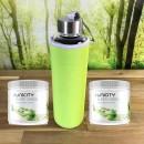 SuperGreen-Aktion-Glasflasche + Neoprenhülle grün