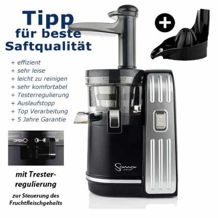 Slow Juicer Sana-828-mit-zitrus-schwarz