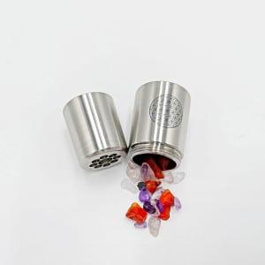 WhirlPearl Edelstahl Wasserwirbler mit Blume des Lebens & Edelsteinen